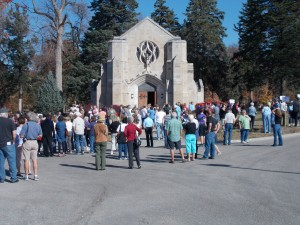 Crowd gathering in front of Rudge Chapel